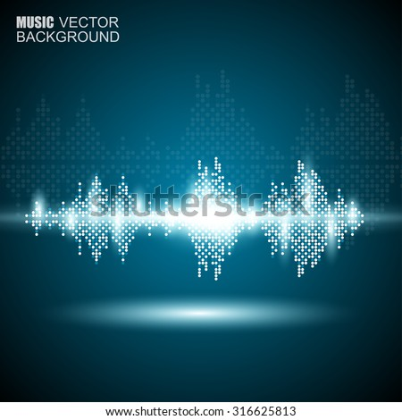 Abstract music waves background - stock vector