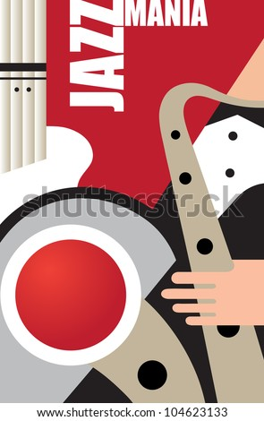 Abstract musical background on jazz subjects - stock vector