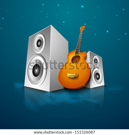 Abstract musical background with loud speakers and guitars. - stock vector