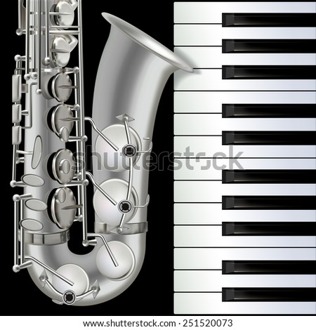 abstract musical background with saxophone and piano on black - stock vector