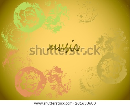 Abstract musical background with the frame of the records vinyl mono-type, and space for text.  - stock vector