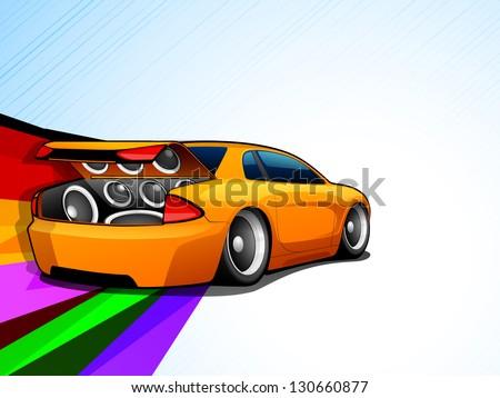 Abstract Musical Car. - stock vector