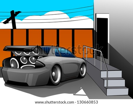 Abstract Musical Car with loud speakers. - stock vector