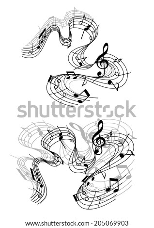 Abstract musical compositions with notes and sound waves for art or music concert design - stock vector