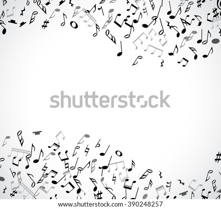 Abstract musical concert flyer with black notes. Vector illustration for music poster. Melody border frame decoration. Sound key sign symbol. Wave isolated on white background. Jazz pattern wallpaper - stock vector