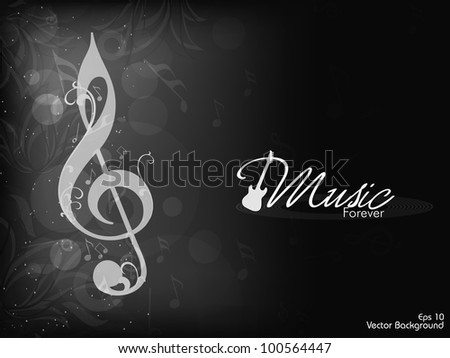 Abstract musical notes in black and white color on floral background. EPS 10, can be use as flyer, banner or poster for disco parties and other events. - stock vector