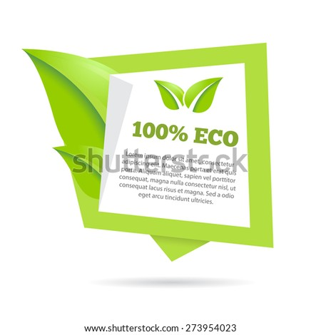 Abstract natural green banner stylized speech bubble with leafs - stock vector