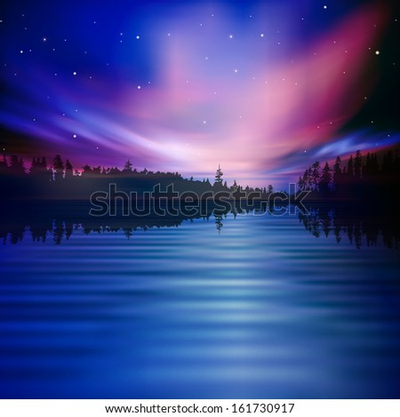 abstract nature background with forest lake and sky - stock vector