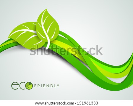 Abstract nature background with green leaves on wave background. - stock vector