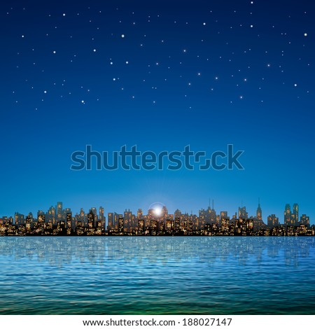abstract nature background with panorama of city and stars sky - stock vector