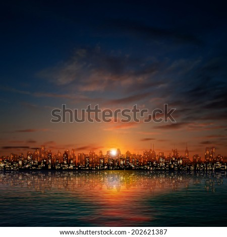 abstract nature background with panorama of city dark clouds and golden sunset - stock vector