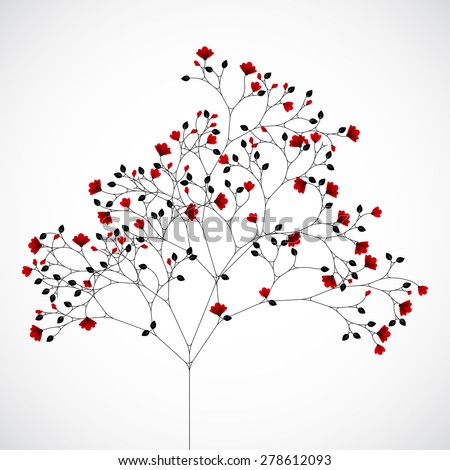 Abstract nature background with red flowers. - stock vector