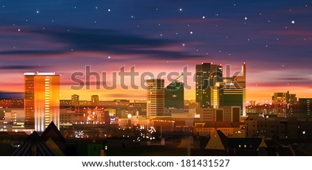 abstract nature background with stars sunrise and cityscape - stock vector