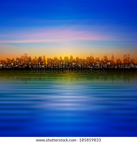 abstract nature blue background with silhouette of new york and blue sky - stock vector