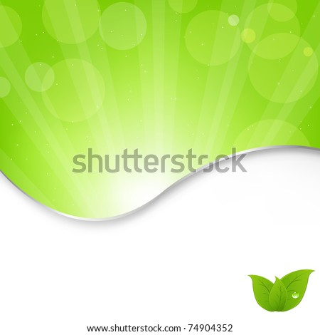 Abstract Nature Green Background With Beams, Vector Illustration - stock vector