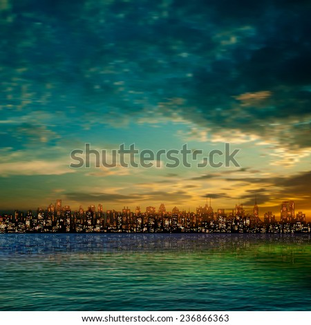 abstract nature green background with panorama of city and clouds - stock vector