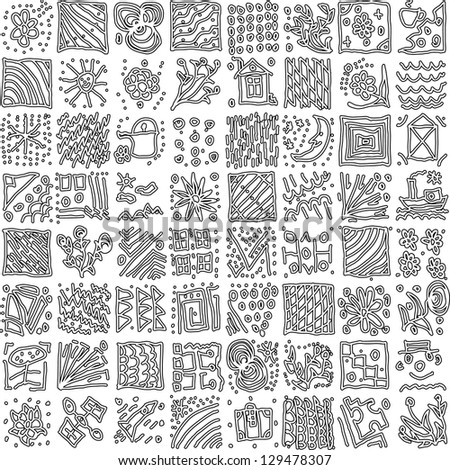 Abstract Nature Pattern with plants, flowers. Monochrome/ Endless pattern can be used for wallpaper, pattern fills, web page background, surface textures. - stock vector