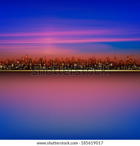 abstract nature pink background with silhouette of city - stock vector