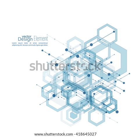 Abstract neat  Background with transparent cubes, hexagons carcass. Techno design of future, minimalism. technology, science and research. cyberspace cells. Digital Data Visualization. blue, vector  - stock vector