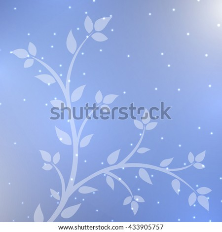 Abstract neon background -  young tree with bright  flashes  - stock vector