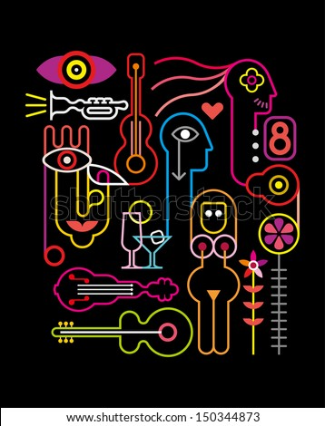 Abstract Neon Composition - vector illustration on black background. - stock vector
