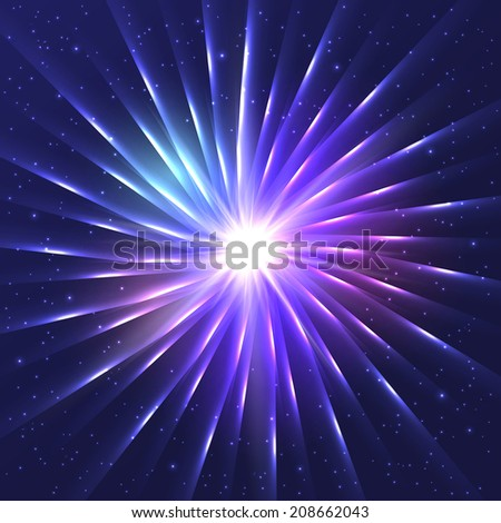Abstract neon shining vector star - stock vector