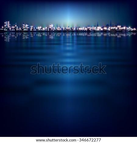 abstract night background with blue sunset and illumination in Tallinn - stock vector