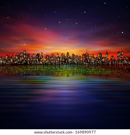 abstract night background with silhouette of city and sunset - stock vector