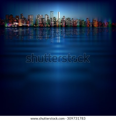 abstract night blue background with silhouette of city - stock vector