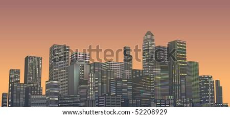 abstract night city - stock vector