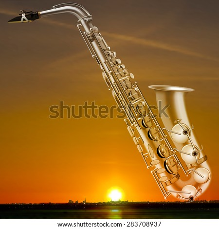 abstract night golden background with city and saxophone - stock vector