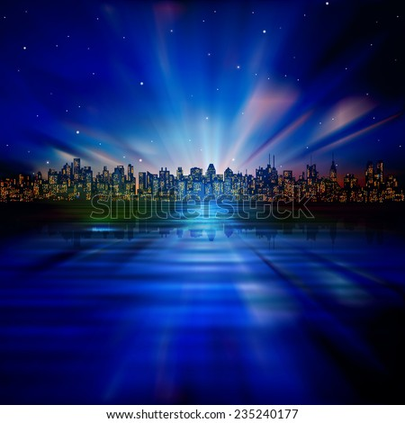 abstract night nature background with silhouette of city and sunrise - stock vector