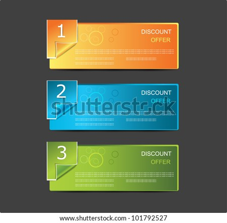 abstract number line banner design element. - stock vector