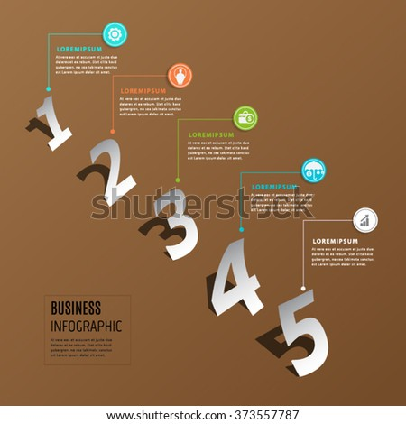 Abstract number paper infographic element. - stock vector