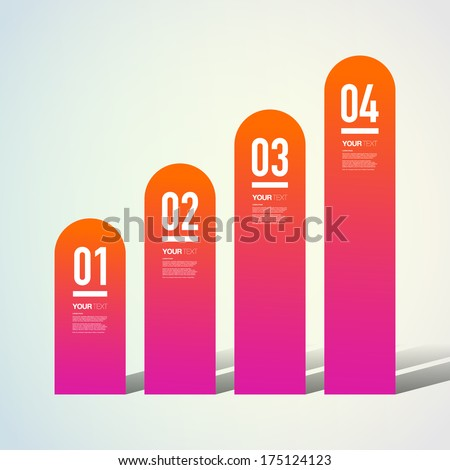 Abstract numbered ascending colorful infographic columns with your text  Eps 10 vector illustration  - stock vector