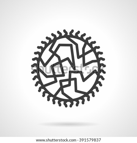 Abstract object or model of viral infection. Round virus. Microbiology, virology and medicine. Science research. Simple black line vector icon. Single element for web design, mobile app. - stock vector