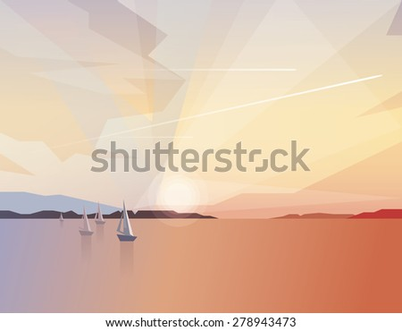abstract ocean view landscape with sailing boats on colorful sunset and airplanes traveling through the sky. Summer holidays recreation - stock vector