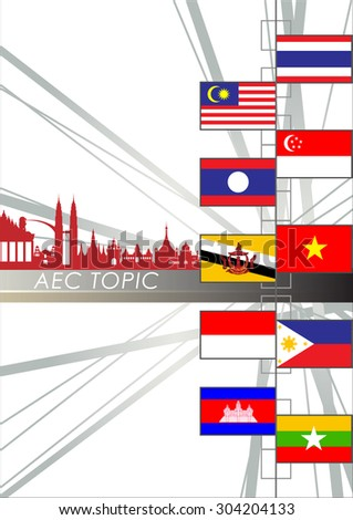 Abstract of Asean Economic Community, AEC, Vector and Illustration, EPS 10. - stock vector