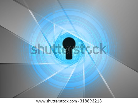 Abstract of digital and binary data protected by the security system, vector illustration - stock vector