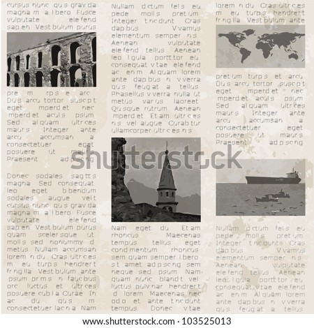 Abstract old newspaper seamless vintage background. Vector illustration. - stock vector