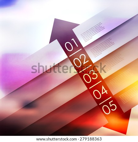 abstract  options on blur background, number line, can be used for website, info-graphics, number banner - stock vector