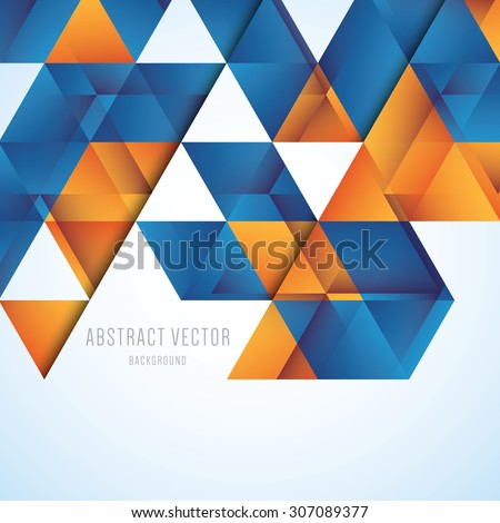 Abstract orange and blue triangles vector background - stock vector