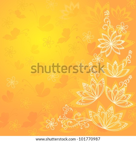 Abstract orange and yellow floral background with flowers contours and butterflies silhouettes. Vector eps10, contains transparencies - stock vector