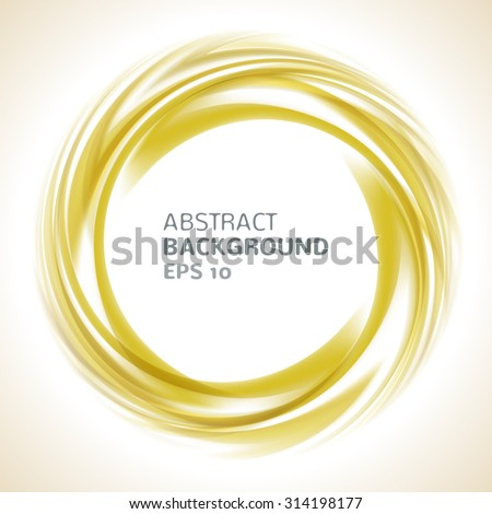 Abstract orange and yellow swirl circle bright background. Vector illustration for you modern design. Round frame or banner with place for text. - stock vector