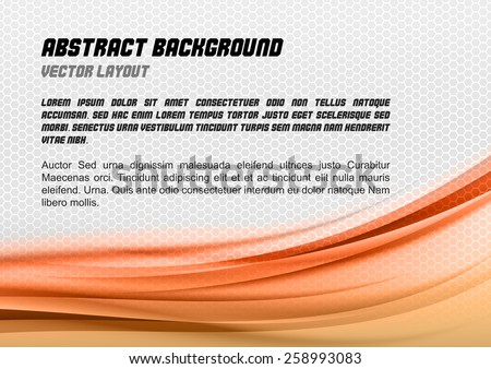 Abstract orange background with grey hexagon. Vector design. - stock vector