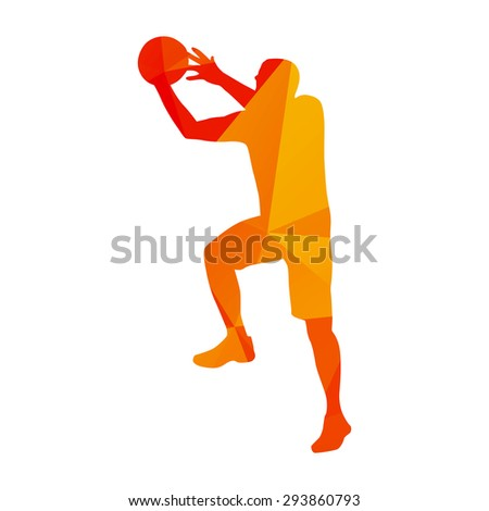 Abstract orange basketball player - stock vector