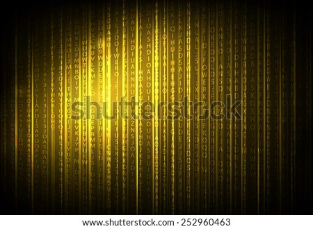 abstract orange binary code of technology, vector illustration - stock vector