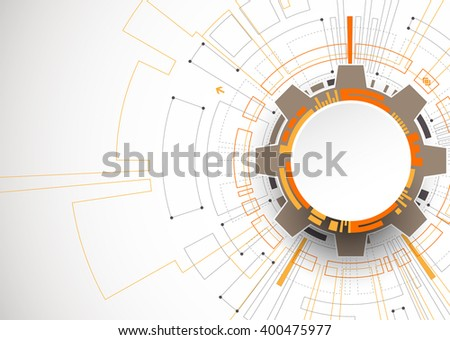 Abstract orange colored technological background with various technological elements. Structure pattern technology backdrop. Vector - stock vector