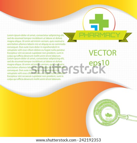 Abstract orange green grid medical background - stock vector