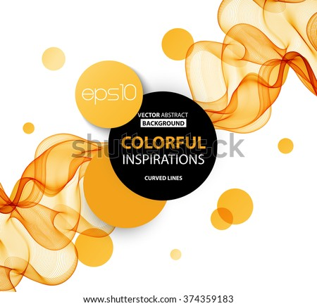 Abstract orange wavy lines.  Colorful vector background - stock vector